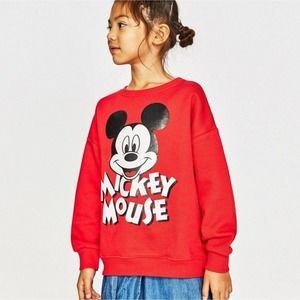 Zara x Disney Girls Red Retro Mickey Sweatshirt 6T
